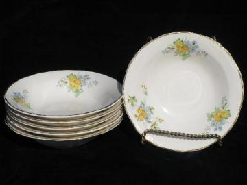 vintage Crown Potteries china bowls, forget-me-not flowers in blue & yellow