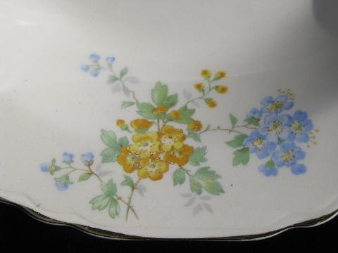vintage Crown Potteries china soup bowls, forget-me-not flowers in blue & yellow