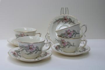 vintage Crown Potteries cups & saucers pink grey floral southern charm magnolias or dogwood