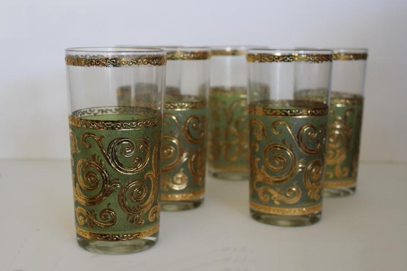 vintage Culver drinking glasses, Toledo gold scrolls on green, glass tumblers s