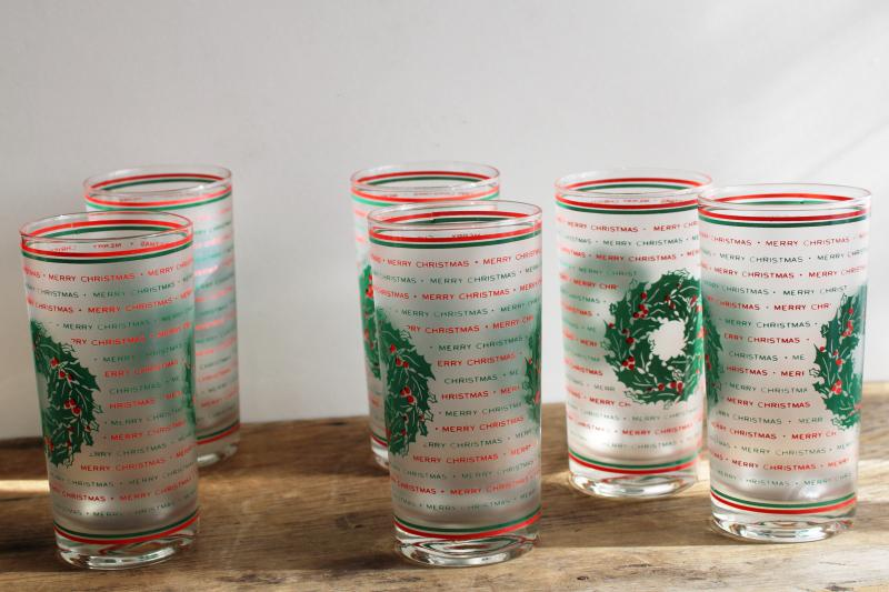 vintage Culver highball glasses, red & green Merry Christmas frosted glass tumblers