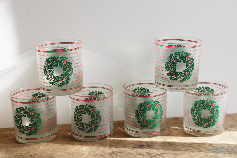 vintage Culver lowball glasses, red & green Merry Christmas frosted glass tumblers