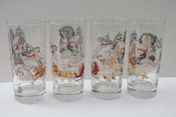 vintage Culver sleigh ride Christmas holiday drinking glasses highball tumblers
