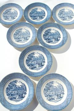 vintage Currier & Ives blue and white china bread & butter plates, harvest scene