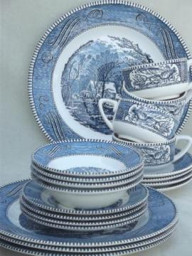 vintage Currier & Ives blue and white china dishes, dinnerware set for 4