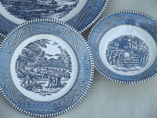 Vintage Currier Amp Ives Blue And White China Dishes