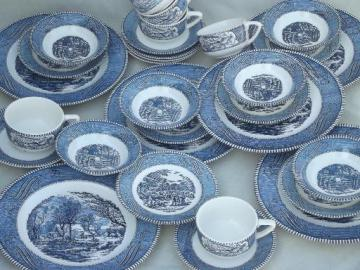 vintage Currier & Ives blue and white china dishes, dinnerware set for 6