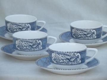 vintage Currier & Ives blue and white china dishes set of cups and saucers