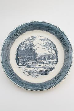 vintage Currier & Ives blue and white china pie pan, pie plate w/ ice cutting scene