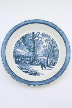 vintage Currier & Ives blue and white china pie pan, pie plate w/ snowy morn scene