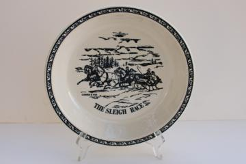 vintage Currier & Ives blue & white Royal china pie plate The Sleigh Race