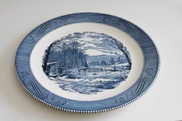 vintage Currier & Ives blue & white transferware china chop or cake plate, cutting ice