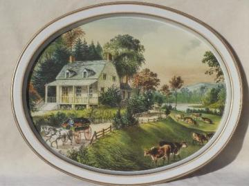 vintage Currier & Ives print metal serving tray, American Homestead Summer