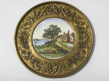 vintage Currier & Ives saltbox cottage print tile in brass charger frame
