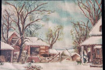 vintage Currier & Ives scene, printed linen w/ embroidery in art deco glass mat frame