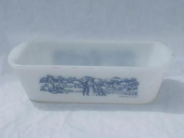 vintage Currier and Ives blue and white print bread loaf pan, Glasbake kitchen oven glass