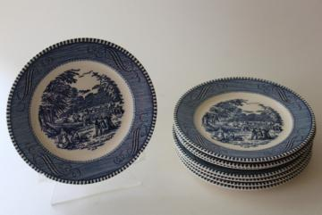 vintage Currier and Ives blue print bread & butter plates, harvest scene