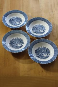 vintage Currier and Ives blue & white china plate rim soup bowls set of four