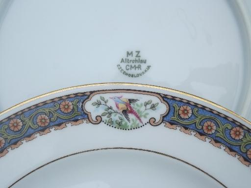 Vintage Czech China Plates W Hand Painted Pheasants