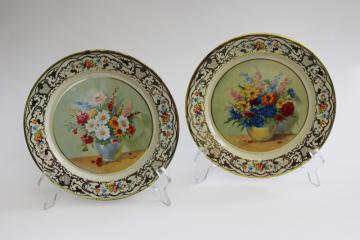 vintage Daher Ware flue covers or plates, granny chic florals shabby tin litho prints