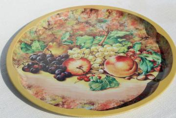 vintage Daher Ware round metal table top serving tray, fruit still life old masters style