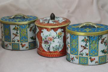 vintage Daher Ware tin & English biscuit tins, metal canisters w/ birds & flowers