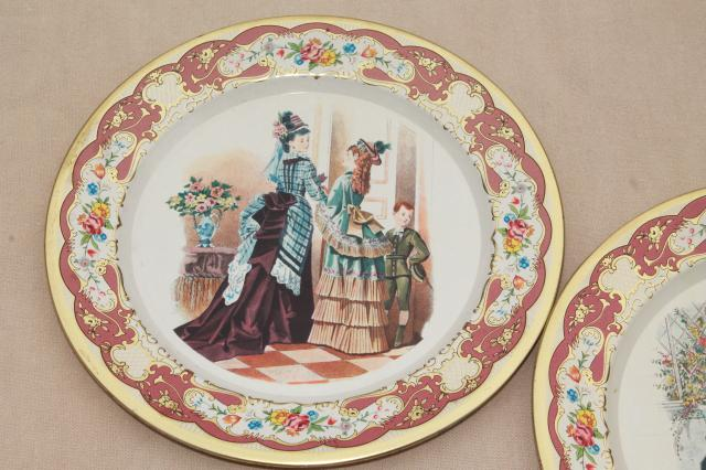 vintage Daher Ware tin plates w/ Godey style antique ladies fashion prints & vintage Daher Ware tin plates w/ Godey style antique ladies fashion ...