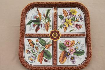 vintage Daher Ware tole tin metal square plate or serving tray w/ spring garden flowers