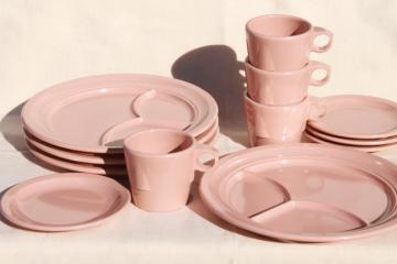 vintage Dallas Ware pink melmac cafeteria dishes set for 4 - divided plates, mugs