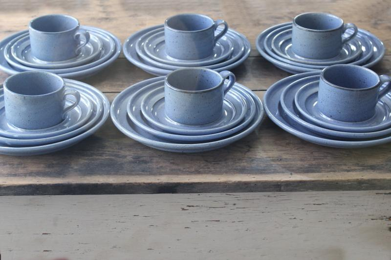 vintage Dansk - Japan Nielstone dinnerware set for 6, stoneware blue tan speckled