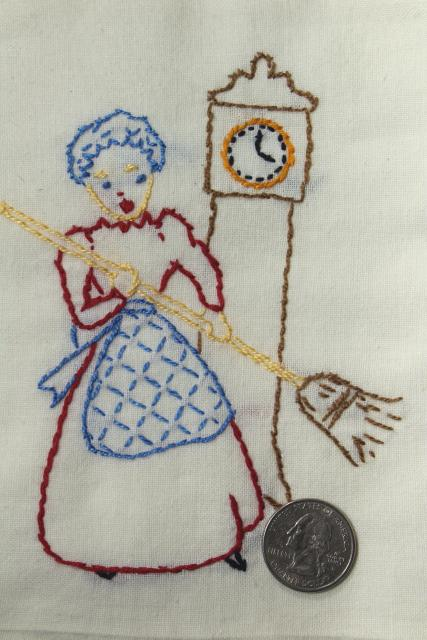 vintage Days of the Week cotton flour sack towels, kitchen chores hand stitched embroidery