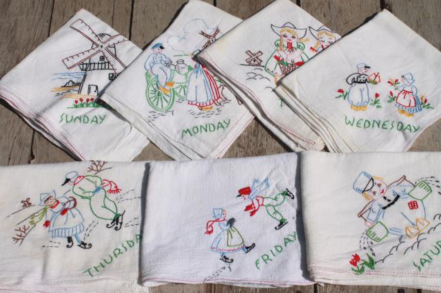 Vintage Days Of The Week Cotton Floursack Kitchen Towels W/ Embroidery,  Dutch Boy U0026 Girl