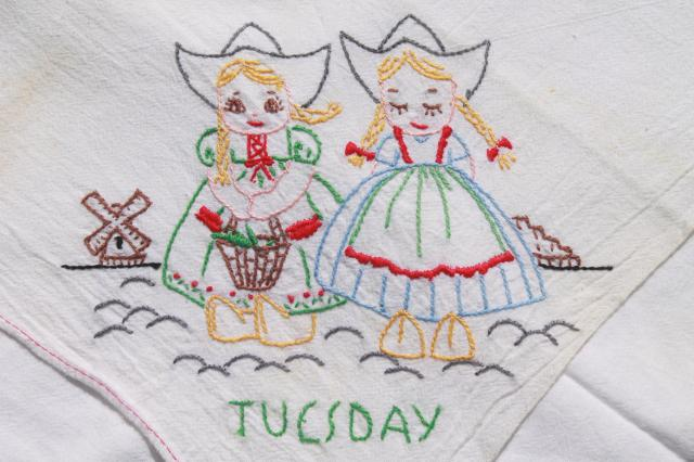 Days of the Week cotton floursack kitchen towels w/ embroidery ...