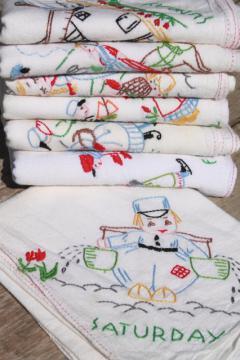 vintage Days of the Week cotton floursack kitchen towels w/ embroidery, Dutch boy & girl