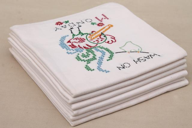 vintage Days of the Week kitchen chores embroidered flour sack cotton feedsack towels