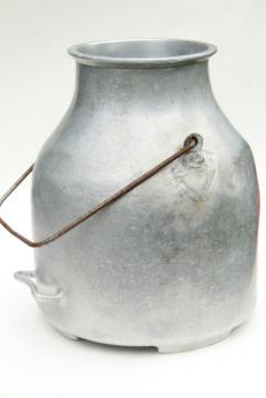 vintage DeLaval milker milking machine bucket, old aluminum metal milk pail