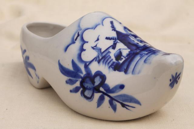 vintage Delft blue & white hand painted Dutch shoe, porcelain planter flower pot