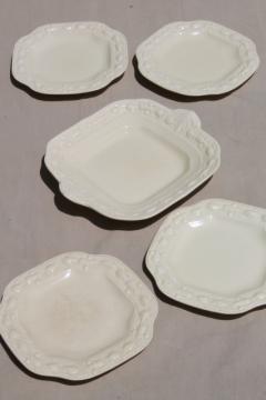 vintage Della Robbia creamware china dessert plates and cake plate Adams - England Titian Ware
