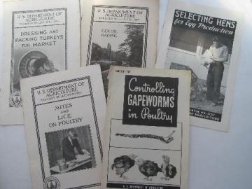 vintage Dept of Ag farmer's bulletins how-to booklets, hens, turkeys, geese