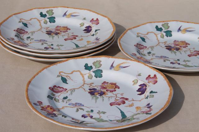 vintage Devon Rose Wedgwood china dinner plates flowers w/ bird u0026 bamboo & vintage Devon Rose Wedgwood china dinner plates flowers w/ bird ...