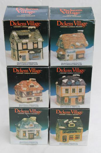 vintage Dickens Village candle holders set, Christmas village ceramic houses & shops