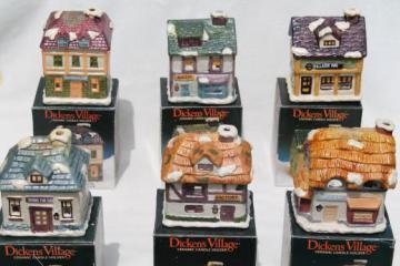 vintage Dickens Village candle holders set, Christmas village ceramic houses & shops