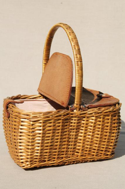 vintage Dorothy / Toto style wicker picnic basket or lunchbox w/ hinged leather cover