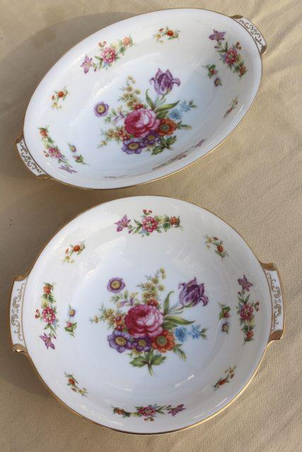 vintage Dresden floral fine china dinnerware set for 8, Harmony House Dresdania