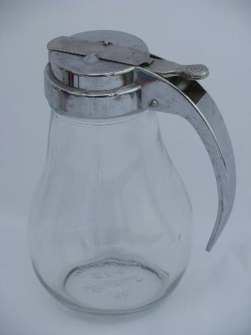 Vintage Dripcut Syrup Pitcher Trigger Handle Metal Lid