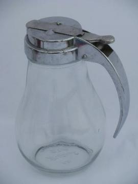 vintage Dripcut syrup pitcher, trigger handle metal lid / kitchen glass jar