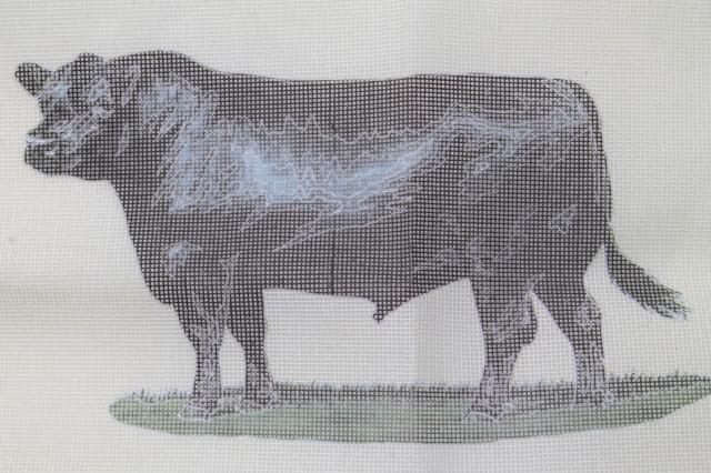 vintage Dritz needlepoint canvas kit, black angus bull farm animal cattle breed portrait