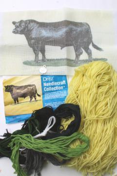 vintage Dritz needlepoint canvas kit, black angus bull farm animal cattle breed portrait