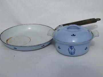 vintage Dru enamel cast iron dutch oven pot & pan, Holland tulips