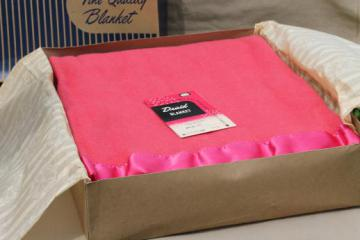vintage Druid label blanket, cherry pink rayon / cotton / wool plush bed blanket